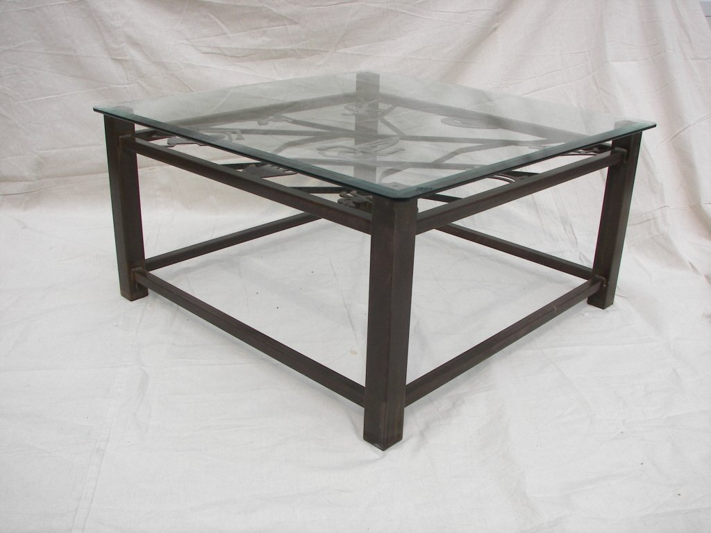 Southwest Style, Steel, Glass Topped Coffee Table
