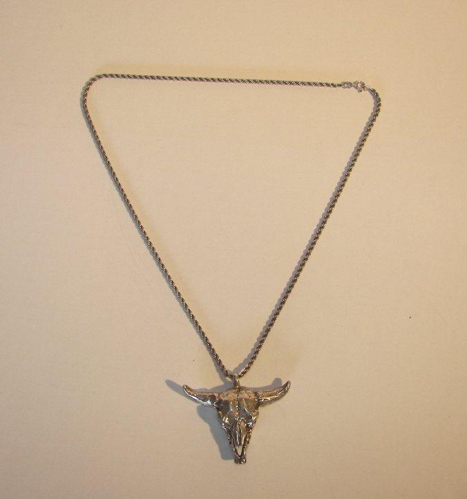 Bull Skull Silver Necklace,