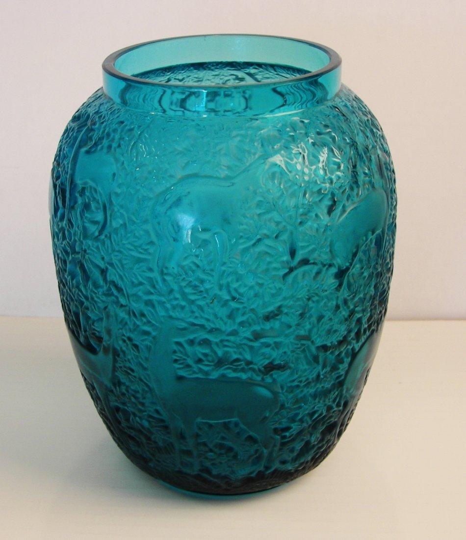 Lalique Vase, Turquoise Glass