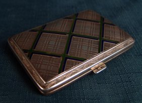 Sterling Silver Cigarette Box With Enamel,