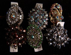 Set Of Ornate Costume Jewelry Rings,