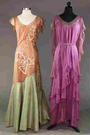 TWO EMBELLISHED EVENING GOWNS, 1930s