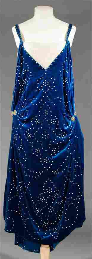 RHINESTONE & VELVET EVENING DRESS, c. 1924