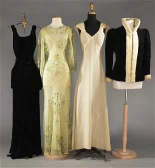 FOUR EVENING GARMENTS, 1930s