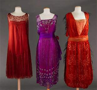 THREE PARTY DRESSES, 1920s
