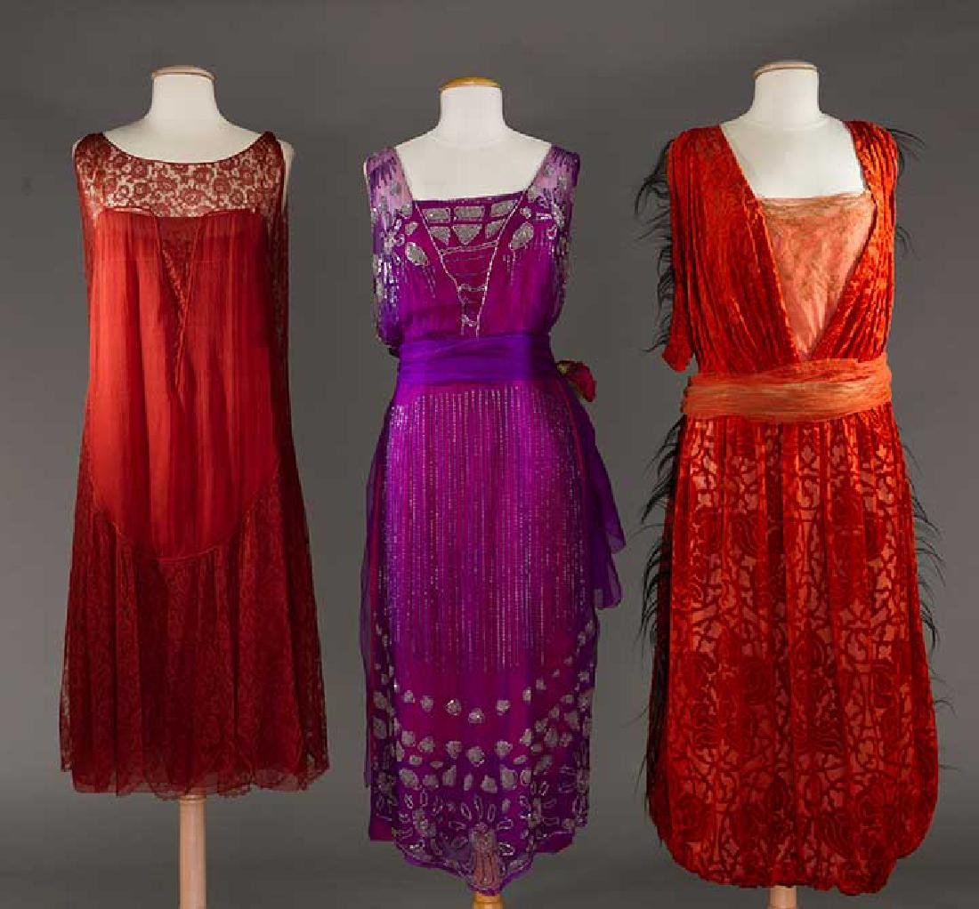 THREE PARTY DRESSES, 1920s