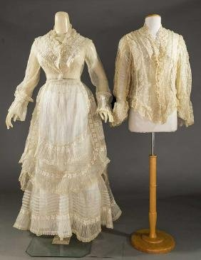 ORGANDY & LACE DRESS PARTS, 1860-1870s