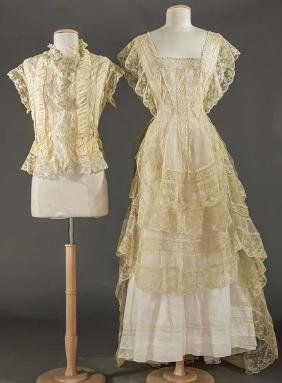 THREE ORGANDY & LACE DRESS PARTS, 1860-1870