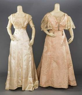 1 CREAM & 1 PINK BALL GOWN, c. 1908