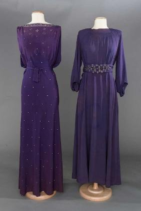 2 BEADED PURPLE EVENING GOWNS, LATE 1930s