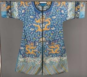 EMBROIDERED EIGHT DRAGON ROBE, CHINA, 19TH C