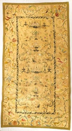 EMBROIDERED WALL HANGING, ITALY or PORTUGAL, EARLY 18TH