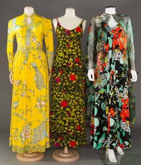 THREE PRINTED SILK GOWNS, 1970s