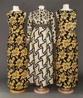 THREE LAME BROCADE EVENING GOWNS, 1960s