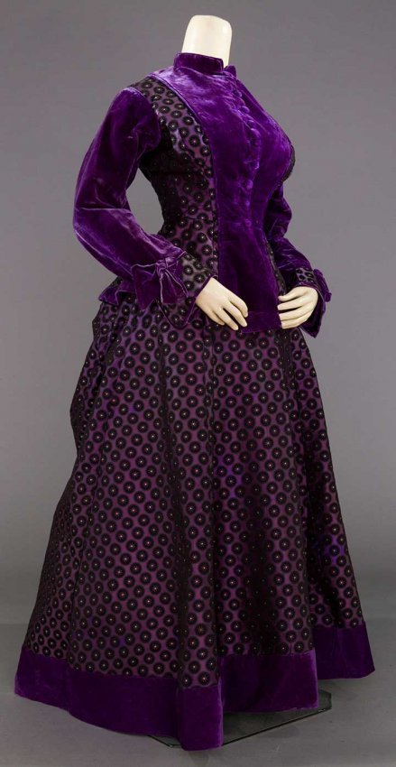 PURPLE SILK BROCADE VICTORIAN DRESS