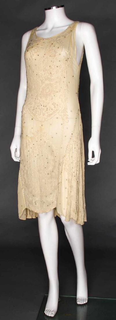 WHITE ON WHITE BEADED DRESS, 1920s