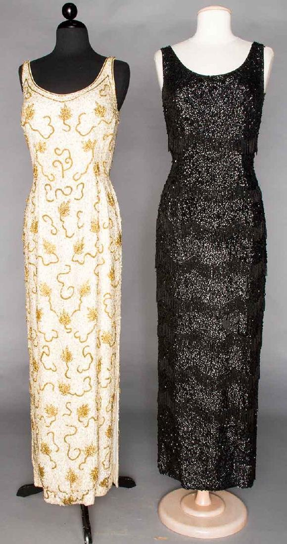 TWO SEQUIN & BEADED SHEATHS, 1950s