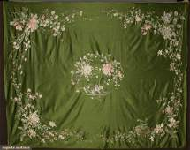 EMBROIDERED SILK BEDSPREAD CHINA 1920s