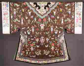 EMBROIDERED & COUCHED CHINESE ROBE, 19TH C