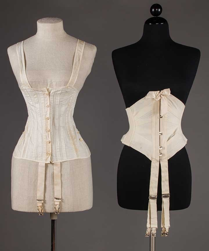 TWO WHITE COTTON CORSETS, 1890-1905