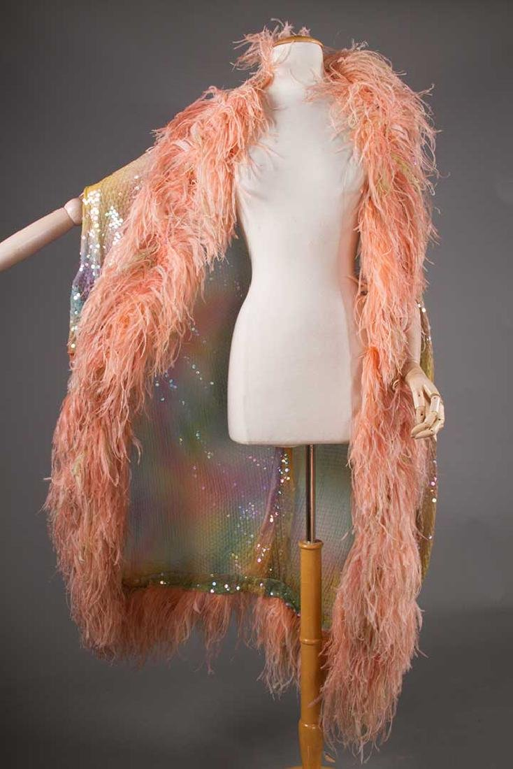 ADOLFO SEQUINED & FEATHERED EVENING CAPE, 1980s - 2