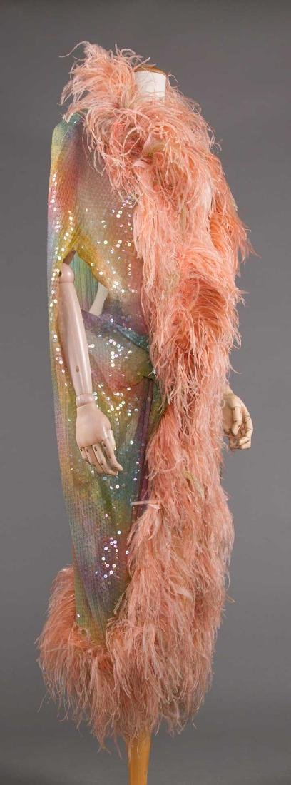 ADOLFO SEQUINED & FEATHERED EVENING CAPE, 1980s - 3