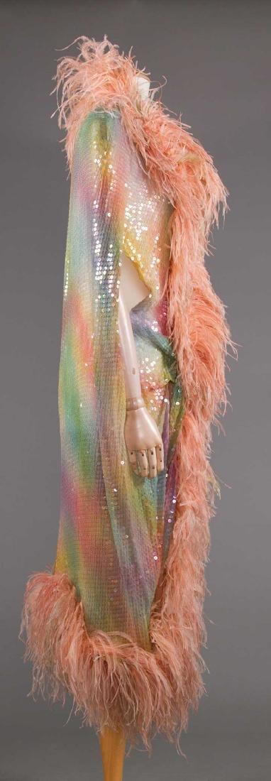 ADOLFO SEQUINED & FEATHERED EVENING CAPE, 1980s - 4