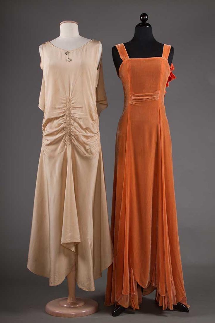 TWO BIAS-CUT EVENING DRESSES, 1930s