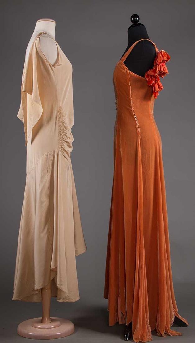 TWO BIAS-CUT EVENING DRESSES, 1930s - 2