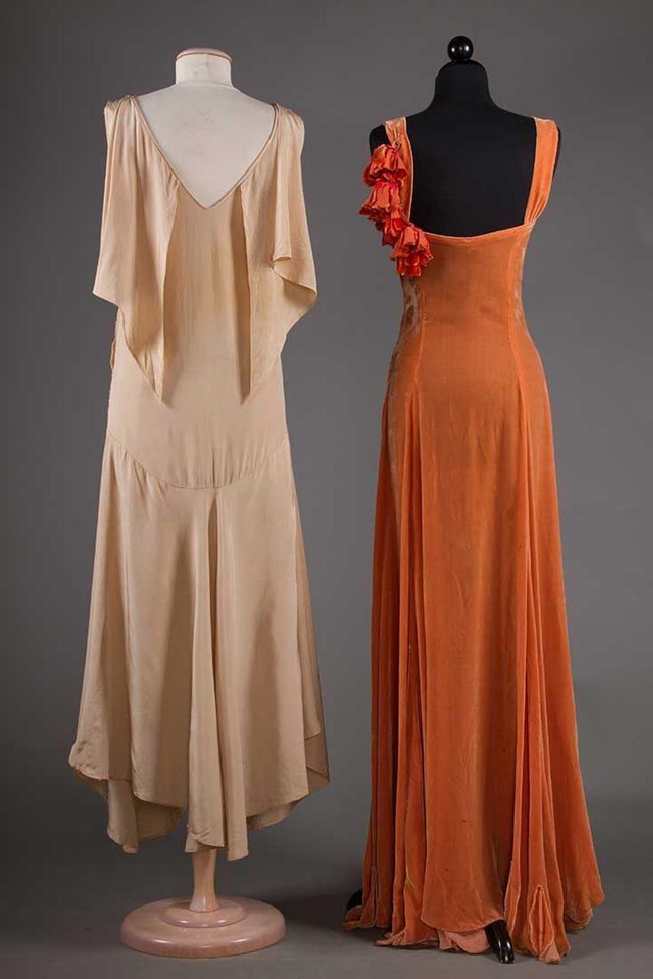 TWO BIAS-CUT EVENING DRESSES, 1930s - 3