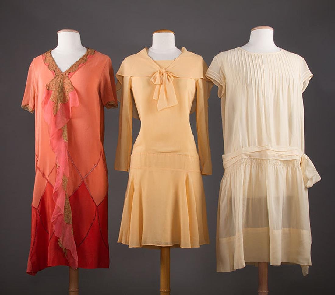 THREE SILK CREPE SUMMER DRESSES, 1920-1930