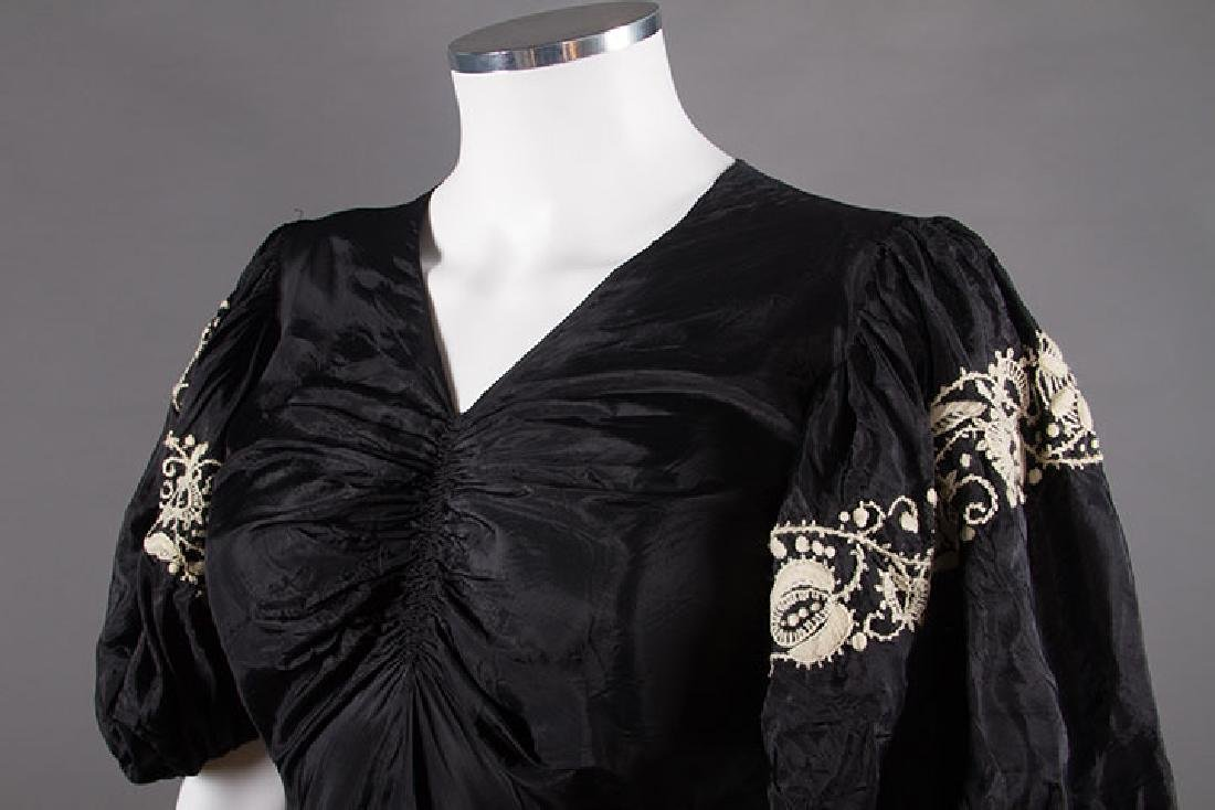 EMBROIDERED BLACK RAYON GOWN, 1940s - 5