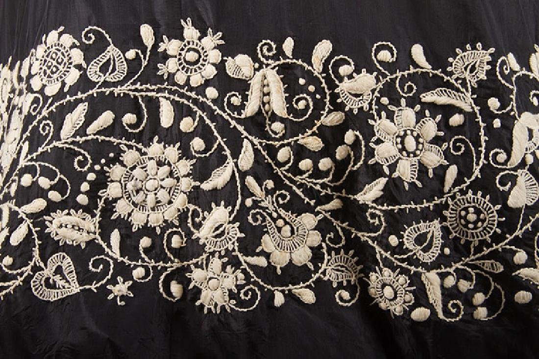 EMBROIDERED BLACK RAYON GOWN, 1940s - 6