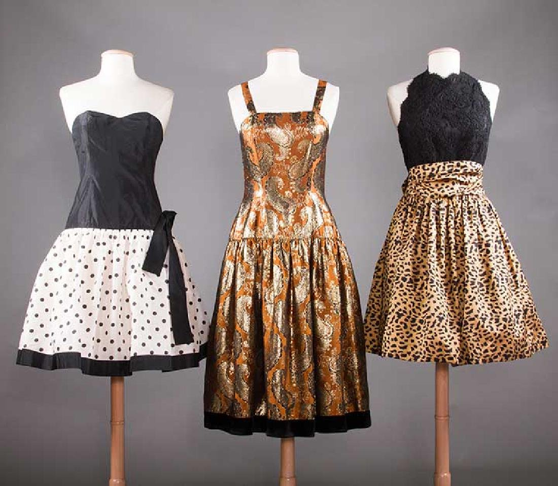 THREE PARTY DRESSES, LATE 20TH C