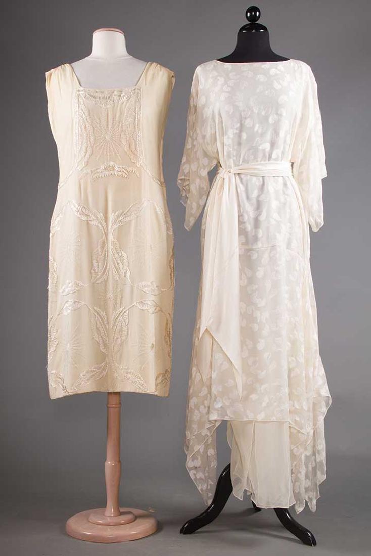 TWO CREAM SILK EVENING DRESSES, 1920s & 1970s