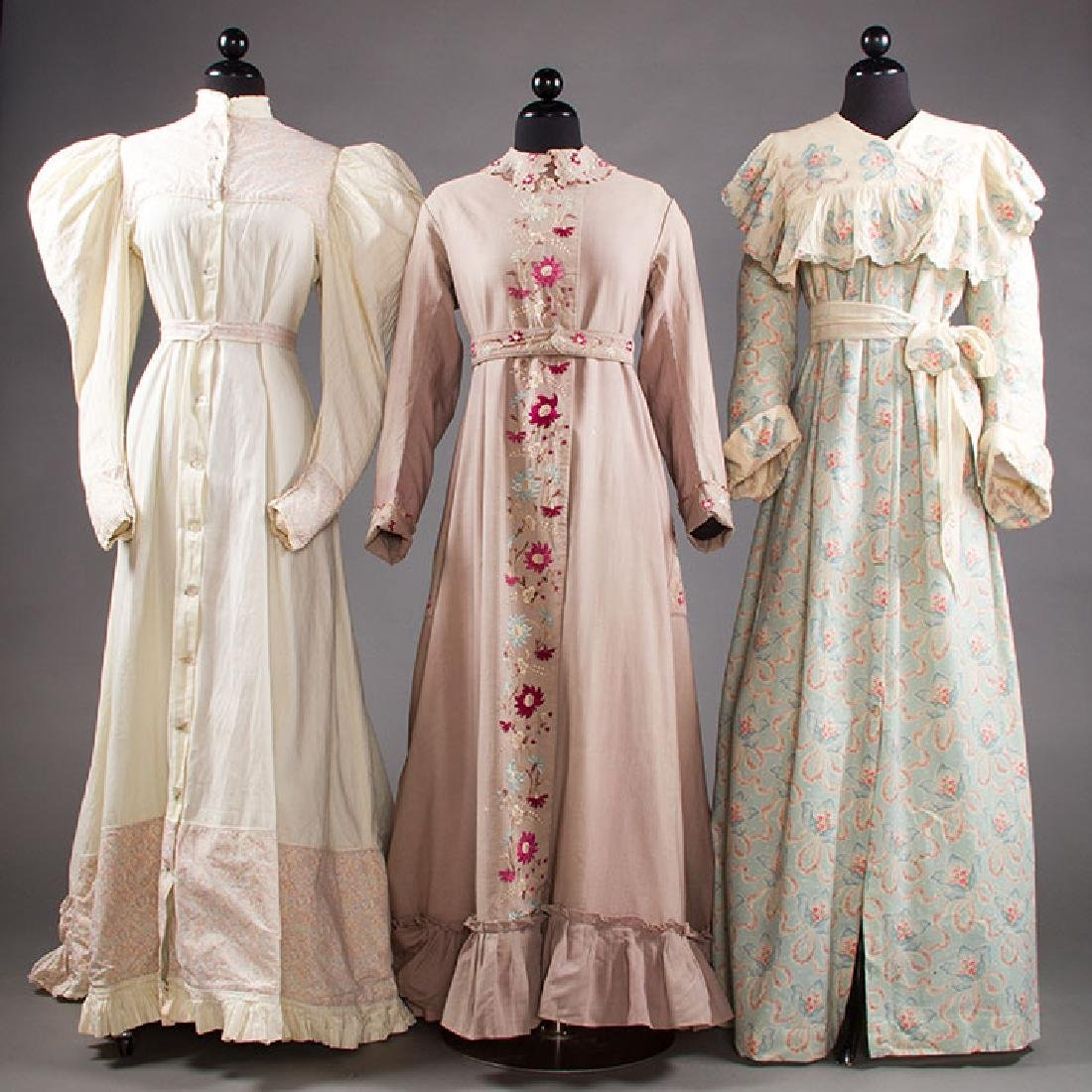3 LADIES' AT-HOME WRAPPERS, 19TH C