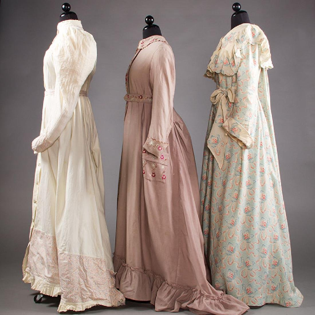 3 LADIES' AT-HOME WRAPPERS, 19TH C - 2