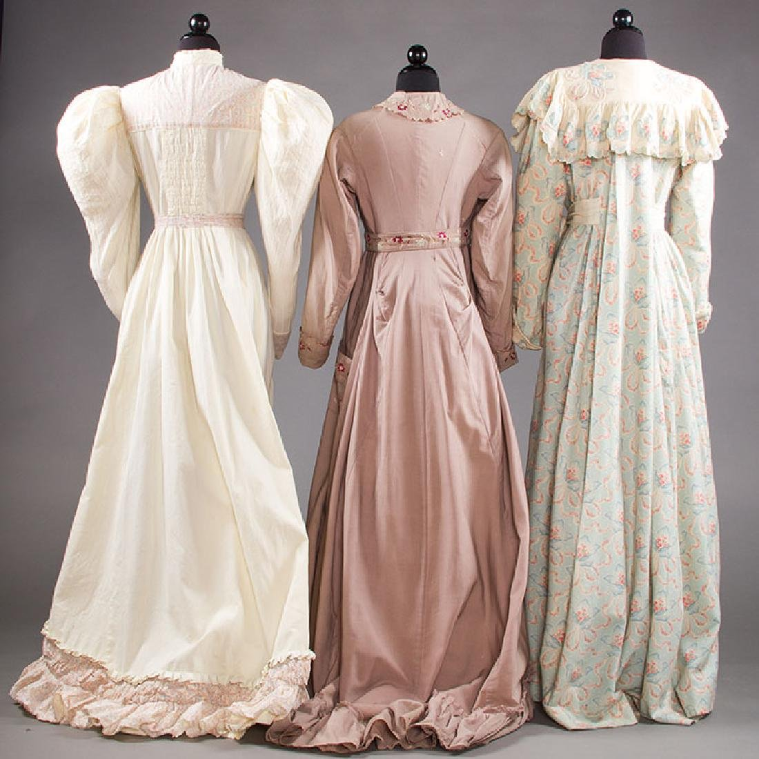 3 LADIES' AT-HOME WRAPPERS, 19TH C - 3