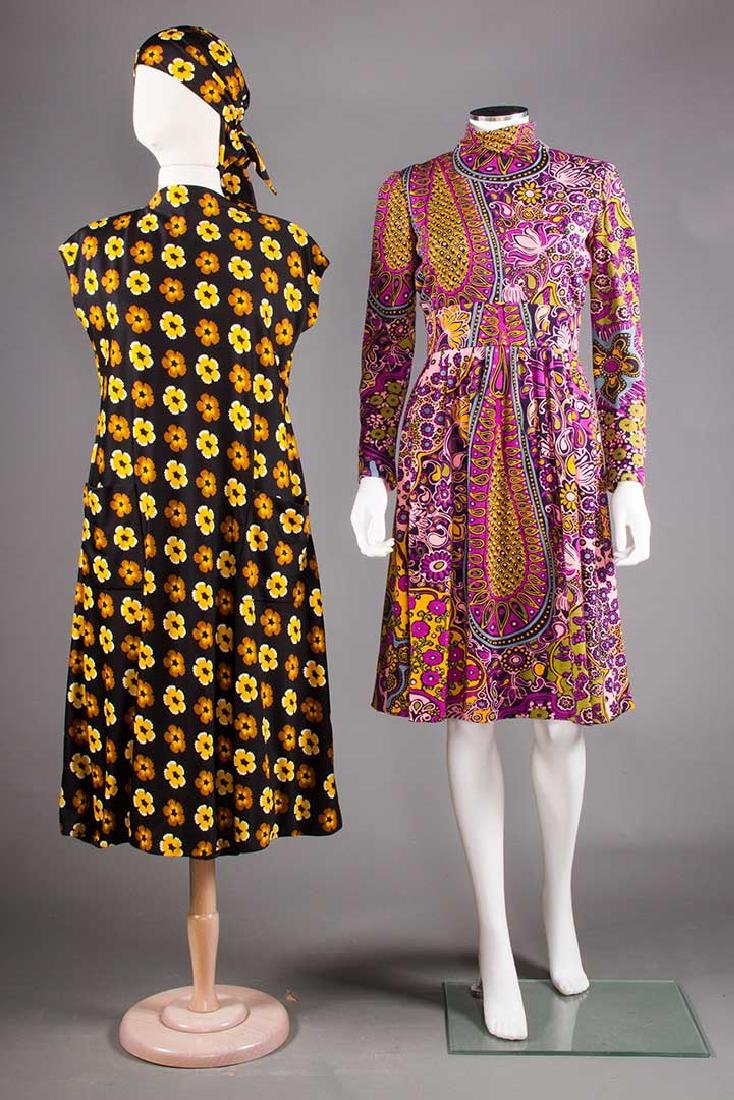 TWO PRINTED TRIGERE DRESSES, 1960-1970
