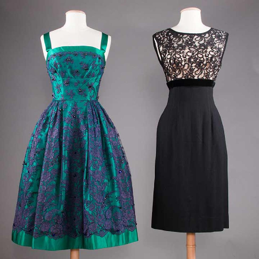 1 GREEN & 1 BLACK PARTY DRESS, 1955-1965