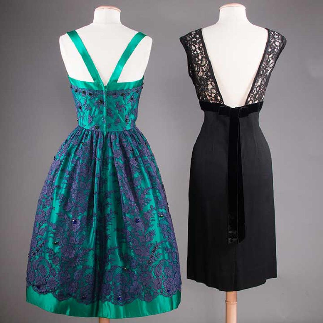1 GREEN & 1 BLACK PARTY DRESS, 1955-1965 - 3