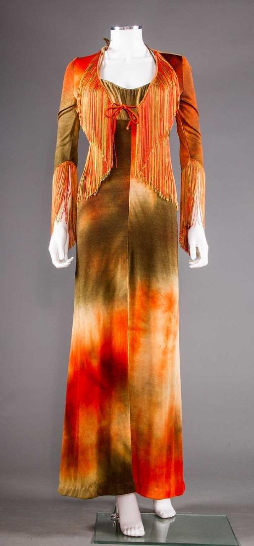 HIPPIE TIE-DYE DRESS & JACKET, c. 1965