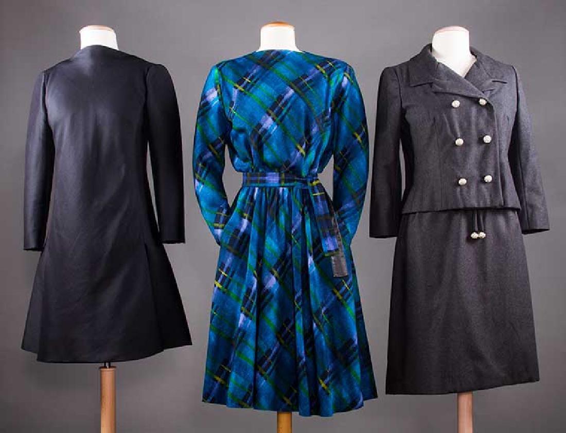 THREE WOOL DESIGNER DRESSES, 1960s