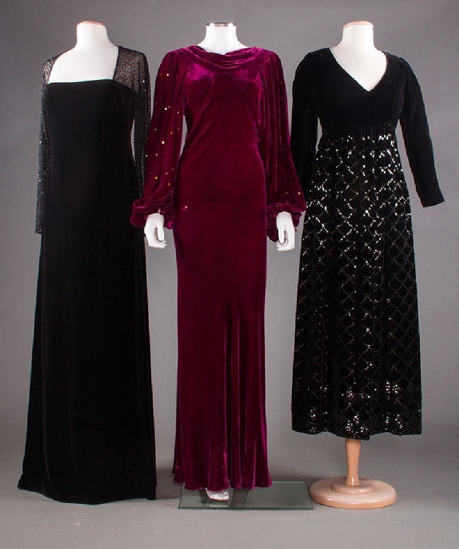 THREE VELVET EVENING GOWNS, 1930-1980