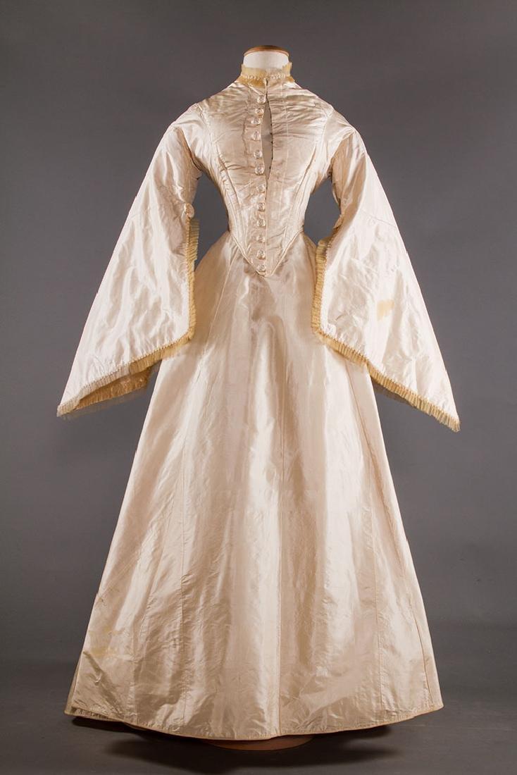 IVORY SILK WEDDING DRESS, 1867