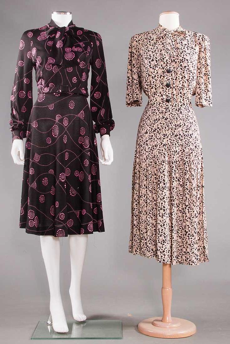 TWO PRINTED DAY DRESSES, 1970