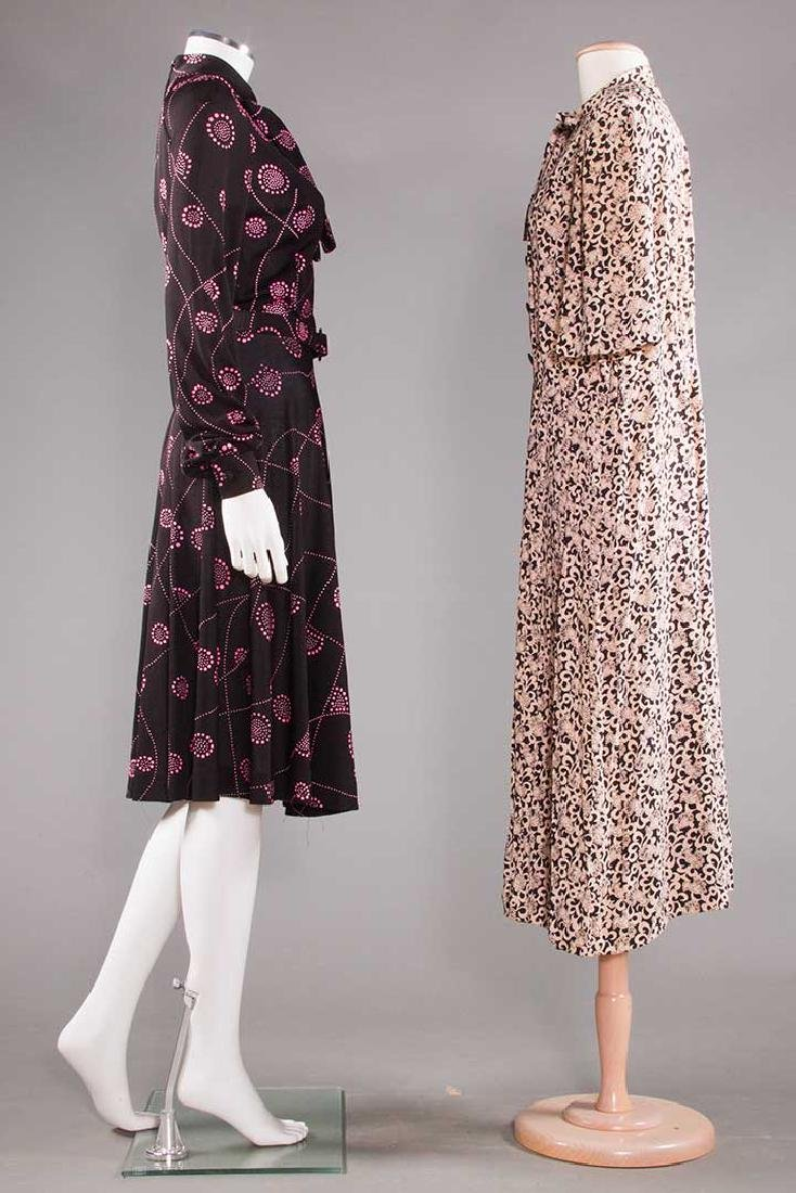 TWO PRINTED DAY DRESSES, 1970 - 2