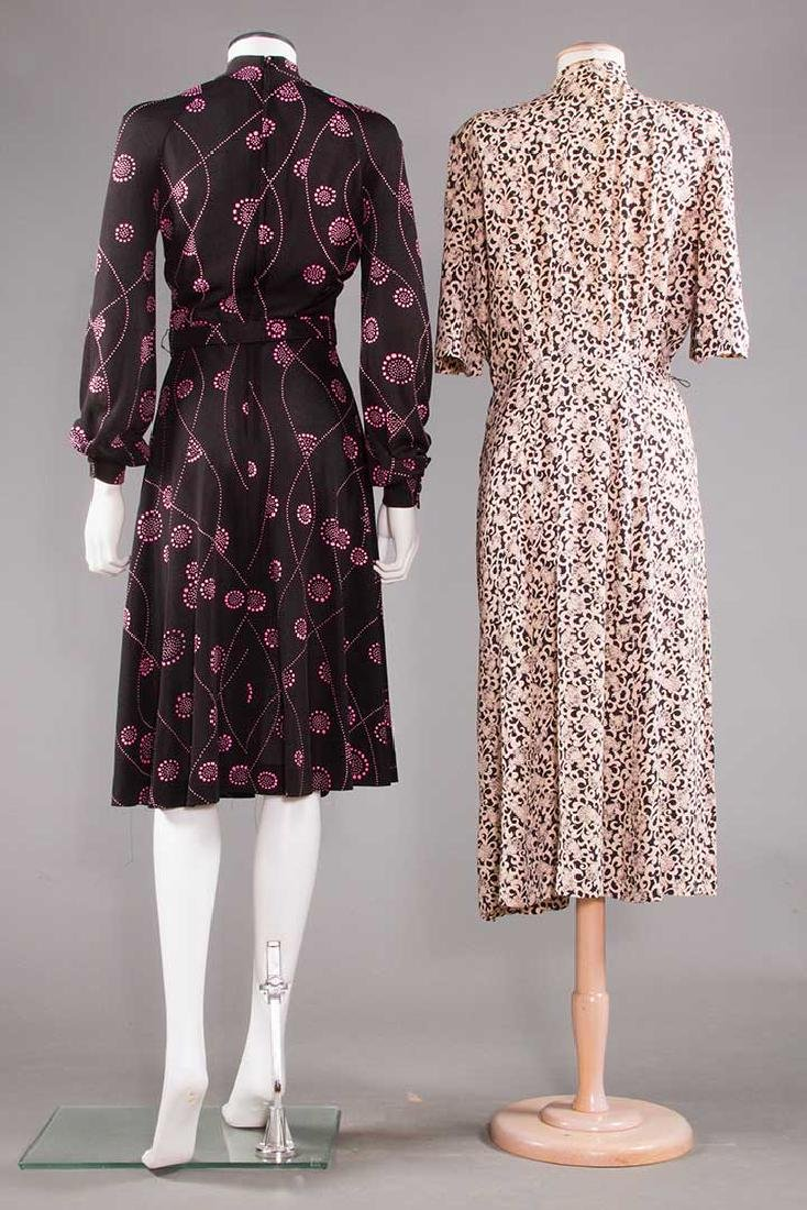 TWO PRINTED DAY DRESSES, 1970 - 3