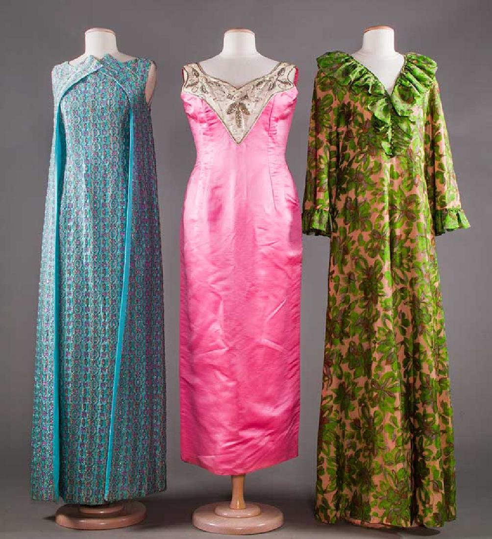 THREE EVENING GOWNS, 1960-1970s