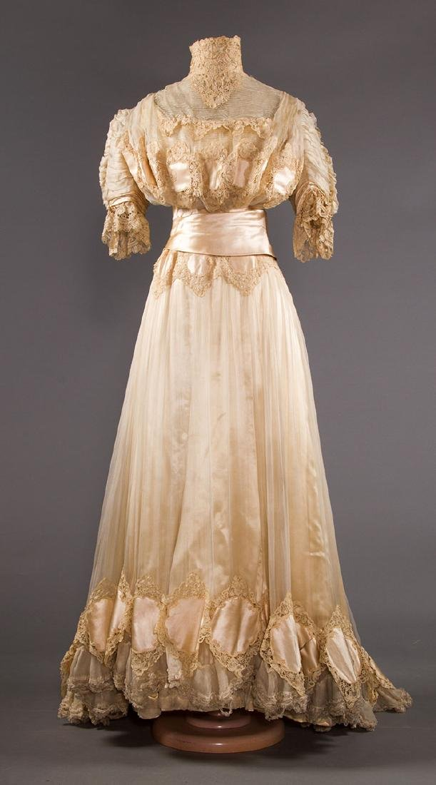 SILK & BRUSSELS LACE WEDDING GOWN, NYC, 1902 - 2